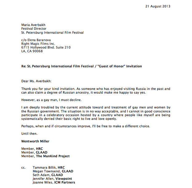 Wentworth Miller Letter On Russian Olympics